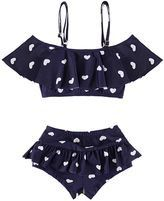 Take a look at this Mia Belle Baby Navy Heart Ruffle Bikini Top & Bottoms - Toddler & Girls today! Baby Bikini, Baby Swimsuit, Bikini Blu, Toddler Swimsuits, Cute Swimsuits, Ruffled Bikini Top, Teen Girl Outfits, Cute Bathing Suits, Kids Swimwear