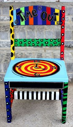 I would LOVE to paint T's naughty chair like this diy
