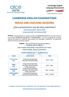 "Cambridge Examinations. Sesión ""Mocks and Coaching"" mañana sábado de 10.00 a 14.00. Reserva tu plaza para la próximaFoto"