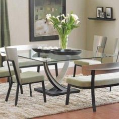 Modern Glass Top Square Dining Table Designs With Modern Chairs And White Seats , Square Dining Table Designs Furniture In Furniture Category