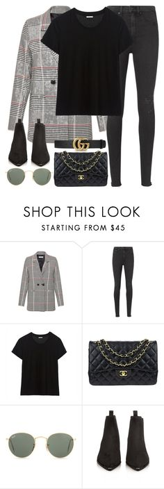 """Untitled #3294"" by elenaday ❤ liked on Polyvore featuring Anine Bing, rag & bone, Chanel, Ray-Ban, Acne Studios and Gucci"