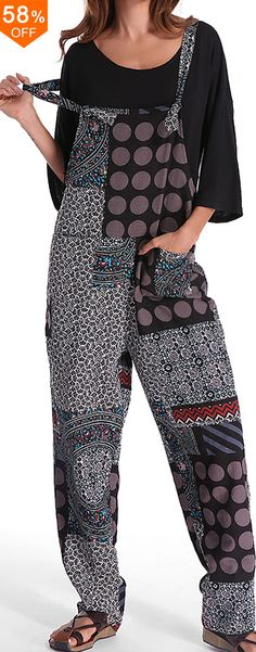 Gracila Casual Women Polka Dot Printed Loose Patchwork Pocket Jumpsuits.Casual Style,Color:Black,Red.Size:M,L,XL,XXL,XXXL,XXXXL,5XL.Suitable in Fall,Spring,Summer.Buy now!