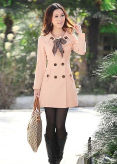 ★2012 Fashion Women's Double-- breasted Trench Jacket /Coat + (scarf) 4 colors★