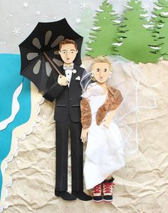 Commission a completely unique custom wedding portrait (it's made of paper!). #etsyweddings
