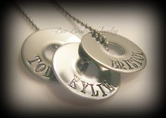 Mothers Day Gift - Hand Stamped Stainless Steel Small Washer Necklace - Family Jewelry. $25.00, via Etsy.