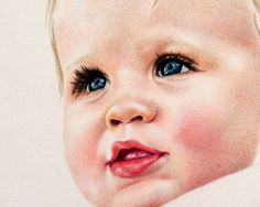 Baby Art Print colored pencil portrait Giclee by CrystalCookArt,