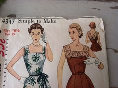 1950's Cocktail Dress Pattern - Vintage Fashion Plate Sewing Tutorial by happydayantiques on Etsy