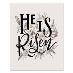 He Is Risen - Print - Easter - Spring Decor - Floral Art - Hand-Lettering - Floral Illustration - Spring Wall Art - Bar Cart Decor Chalkboard Print, Chalkboard Wedding, Lily And Val, Happy Easter Everyone, Floral Illustrations, How To Memorize Things, Canvas Prints, Etsy, Stay Safe