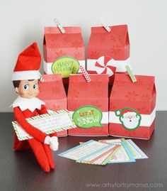 Elf on the Shelf Advent with Free Printable Clues at artsyfartsymama.com #MichaelsChristmas