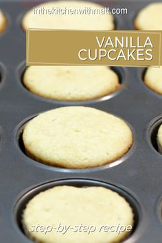 This easy to make vanilla cupcakes recipe is awesome! If you love basic cupcakes, try these. All you need are simple ingredients like butter, sugar, eggs, vanilla extract, salt, baking powder, flour, and milk! If I can do it, you can do it. Let's get baking! Basic Cupcake Recipe, Homemade Cupcake Recipes, Homemade Frosting, Cupcake Flavors, Homemade Vanilla, Easy Cake Recipes, Baking Recipes, Dessert Recipes, Easy Vanilla Cupcakes