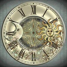Celestial Sun and Moon Large Wall Clock