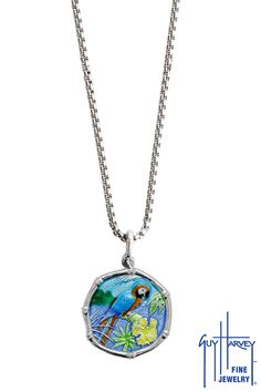 e97989910de One of our most colorful necklaces! 35mm sterling silver Guy Harvey Macaw  necklace on one