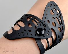 Black Leather Butterfly Wing Bracelet Laser Cut by Spitphire, $30.00