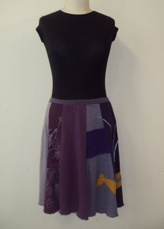 Upcycled recycled appliqué purple tshirt skirt by sardineclothing, $60.00