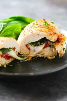 Try this Sun Dried Tomato, Spinach and Cheese Stuffed Chicken recipe and you'l. - Try this Sun Dried Tomato, Spinach and Cheese Stuffed Chicken recipe and you'll never say again t - Jambalaya, Stromboli, Low Carb Dinner Recipes, Lunch Recipes, Keto Recipes, Kraft Recipes, Diabetic Recipes, Drink Recipes, Easy Recipes