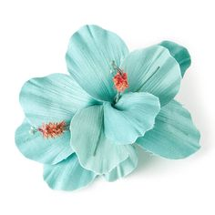 Turquoise Double Hibiscus Flower Hair Clip