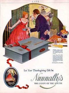 1920 NUNNALLY'S CANDY BOX SOUTH PARTY ATLANTA THANKSGIVING HOLIDAY FEAST FOOD AD