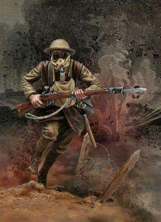 British world war soldier charging the lines