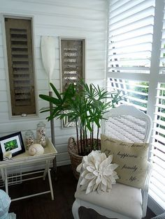 beach vingnette, love the Plantation Shutters, one of our newest offerings, custom hardwood shutters, and blinds always love the clean lines will always stand the test of time!