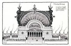 Hugo Höppener (Fidus), Temple designs, 1897-98, Tumblr