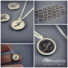 Handwritten initials etched into sterling silver by Lisa Hopkins Design. Great for kids initials. I Love Jewelry, Jewelery, Silver Jewelry, Mother Day Wishes, Jewelry Crafts, Jewelry Ideas, Baubles And Beads, Monogram, Bling