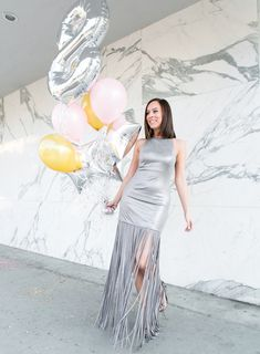 Enter the Sydne Style GIVEAWAY series for 2018! Win $100 gift card, a box of curated fashion & beauty products and a $100 donation to your charity of choice! #silver #dresses #metallics #halston #fringe #giveaways #win