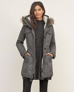 @roressclothes closet ideas #women fashion outfit #clothing style apparel gray jacket #parkaoutfit