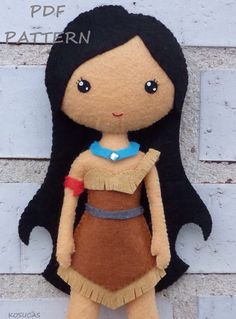 PDF sewing pattern to make the doll felt inspired in Pocahontas inches tall. It is not a finished doll. Includes tutorial with pictures and step by Felt Patterns, Pdf Sewing Patterns, Couture Main, Sewing Crafts, Sewing Projects, Felt Fairy, Sewing Dolls, Felt Toys, Soft Dolls
