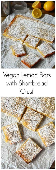 Vegan Lemon Bars with Shortbread Crust -Vegan lemon bars are tart, sweet and a perfect vegan dessert, using all whole ingredients and no tofu and no cashews!