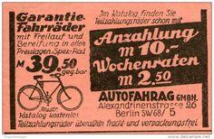 Original-Werbung/Inserat/ Anzeige 1928 - GARANTIE-FAHRRÄDER / AUTOFAHRAG BERLIN - ca. 50 x 75 mm