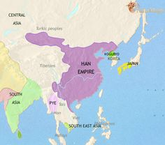 History map and timeline of ancient East Asia showing China