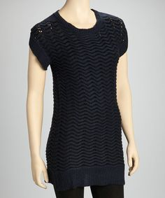 Take a look at this Yoki Navy Wave Sweater Dress on zulily today!