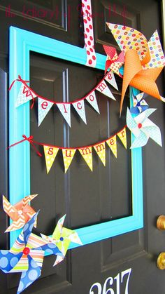 frame with summer flags and pinwheels