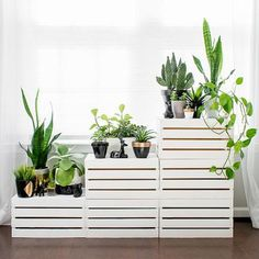 Clearing out the clutter? Looking to make a fresh start? We recommend organizing your space with the clean white lines of this DIY tiered plant stand. It's made from simple wooden storage crates that Wooden Storage Crates, Wooden Boxes, Decoration Plante, Diy Plant Stand, Outdoor Plant Stands, Diy Planters, Planter Ideas, Small Gardens, Apartment Design