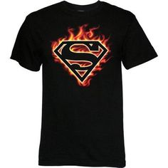 This Superman t-shirt is hot! The black cotton tee features the original Superman logo in flames. Looks like somebody's gotten creative with their heat vision! Black 100% Cotton Officially Licensed St