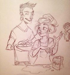 G and Chelle making dumplings 🍴