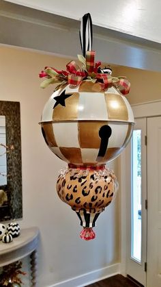 Christmas Ornaments and Kissing Balls, Giant, Black and White Check Ornaments, Angel Ornaments, Bird Ornaments, Leopard Ornaments and Hand Painted Kissing Balls | Lucy Designs