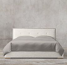 Tompkins Panel Box-tufted Fabric Platform Bed With Nailheads