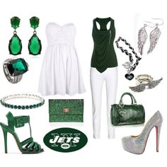 emerald/ white outfit