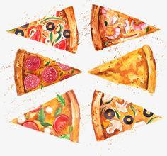 6 Watercolor Cuts Pizza, Watercolor Clipart, Watercolor Pizza, Diced P… Pizza Kunst, Mockups Gratis, Pizza Background, Background Clipart, Pizza Art, Pizza Sign, Mini Pizza, Food Sketch, Pizzeria