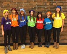 The 7 dwarves. Cute group Halloween costume.