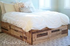 Brandy Scrap Wood Storage Bed with Drawers (Ana White) King Size Storage Bed, Diy Storage Bed, Bed Frame With Storage, Under Bed Storage, Wood Storage, Smart Storage, Bedroom Storage, Furniture Plans, Diy Furniture