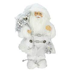"12"" Elegant White Frost Standing Santa Claus Christmas Figure with Lantern. #SantaClaus #Santa #Claus #Christmas  #Figurine #Decor #Gift #gosstudio .★ We recommend Gift Shop: http://www.zazzle.com/vintagestylestudio ★"