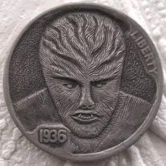 FINN LaRUE HOBO NICKEL - WOLFMAN - 1936 BUFFALO NICKEL Hobo Nickel, Coin Art, Metal Art, Coins, Carving, Percussion, Buffalo, Fantasy Art, Monsters