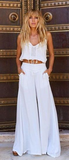 #fall #outfits White Crop Top + White Wide Pants