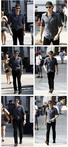 Here we go again! The woman is just casually walking and not noticing Hiddles at all. Hiddles his usual sweet self is steady smiling for no apparent reason just because he is so stinkin' sweet...but WTH the dude in the 4th frame is totally checking Hiddles out?????