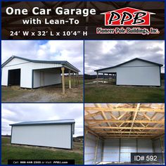"Have all your vehicles under one roof with a choice of putting them inside four walls with protection or have more of an open concept to show them off! 24' W x 32' L x 10' 4"" H (ID# 592) Siding Color: White Roofing Color: Ocean Blue Trim Color: Ocean Blue (1) 10' x 8' Residential Classic Raised Short Panel Garage Door Lean-To Dimensions: 12' W x 32' L x 10' H Or Call 1-888-448-2505 Ext. 136 #OceanBlue #Garage #LeanTo #Storage #whitepolebarn Garage Door Panels, Pole Buildings, Siding Colors, Lean To, Door Storage, Garage Design, Trim Color, First Car, 4 H"