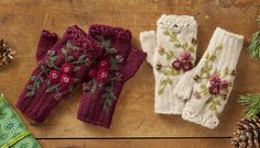 Bramble Handwarmers - fingerless gloves knit from hand-spun wool with crocheted lace and embroidered blossoms.