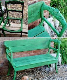 Habt ihr zwei alte Stühle und denkt darüber nach, sie wegzuschmeißen? Das wäre Schade, macht daraus lieber eine schöne Bank. Eine tolle Idee, wie man alte Möbel wiederverwerten kann. Das hier ist ein Beweis dafür, dass man nur ein wenig kreativ sein muss und schon kann man andere inspirieren.