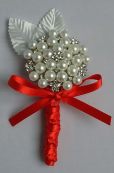 Red Brooch buttonhole corsage. Grooms by Bellesbroochbouquets